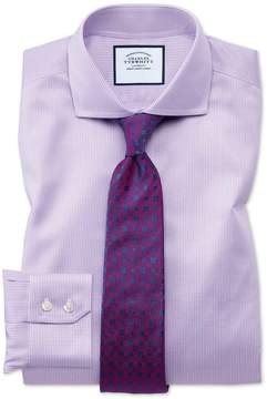 Charles Tyrwhitt Extra Slim Fit Spread Collar Non-Iron Puppytooth Lilac Cotton Dress Shirt French Cuff Size 15/32