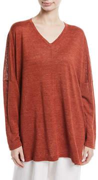 eskandar Lightweight Linen Knit V-Neck Top