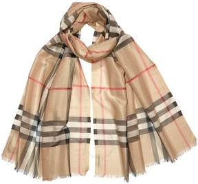Burberry Metallic Check Silk and Wool Scarf- Camel/Gold