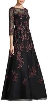 Aidan Mattox Illusion Sleeves Floor-Length Gown