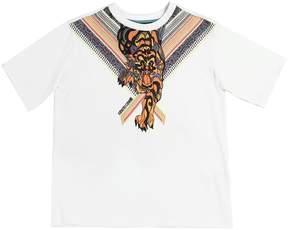 Roberto Cavalli Ethnic Tiger Print Cotton Jersey T-Shirt