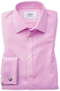 Charles Tyrwhitt Extra Slim Fit Non-Iron Square Weave Pink Cotton Dress Shirt French Cuff Size 14.5/32