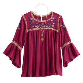 Knitworks Girls 7-16 Embroidered Bell Sleeve Peasant Top with Necklace
