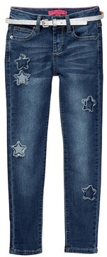 Betsey Johnson Star Patch Skinny Cuffed Jean with Sparkle Belt (Little Girls)