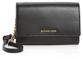 MICHAEL Michael Kors Medium Ruby Convertible Leather Clutch - Black - BLACK - STYLE