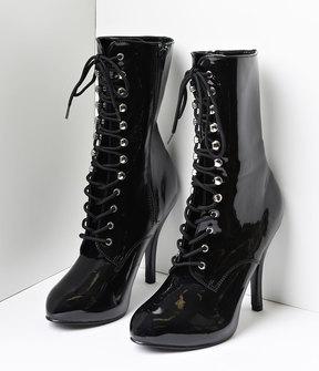Unique Vintage Black Patent Leather Lace Up Stiletto Ankle Boots