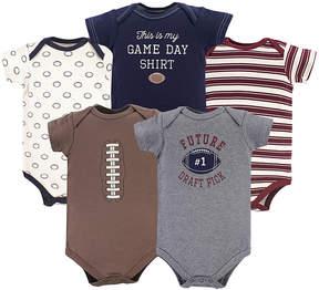 Hudson Baby Brown & Navy Football Bodysuit Set - Newborn & Infant