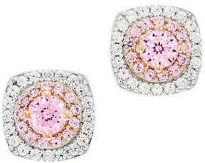 Diamonique As Is 100- Facet Pink Halo Stud Earrings, Sterling