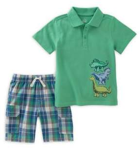 Kids Headquarters Baby Boy's Two-Piece Cotton Polo and Plaid Shorts Set