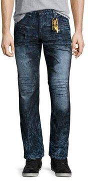 Robin's Jeans Motard Dyed Moto Jeans, Dark Blue