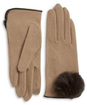 Portolano Rabbit Fur Pom-Pom Cashmere-Blend Touch Gloves