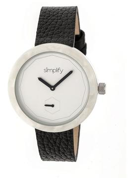 Simplify The 3700 SIM3701 White and Black Leather Analog Watch