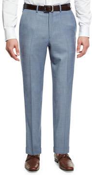 Brioni Sharkskin Wool Flat-Front Trousers, Light Blue