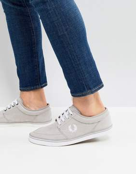 Fred Perry Stratford Micro Fibre Sneakers In Gray