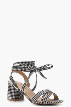boohoo Gingham Cross Strap Ankle Wrap Heels