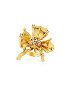 Sequin Golden Crystal Flower Burst Ring