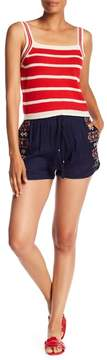 Angie Floral Embroidered Drawstring Shorts