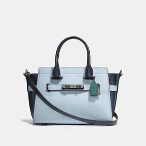 COACH Coach Swagger 27 In Colorblock - DARK GUNMETAL/PALE BLUE - STYLE