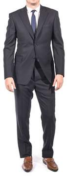 Luciano Barbera Club Men's Slim Fit Wool Two Button Suit Navy Black.