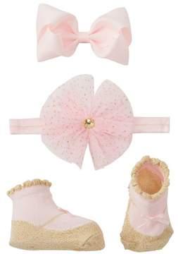 Little Me Glitter Tulle Flower Headband, Bow Clip, & Booties Set (Baby Girls)