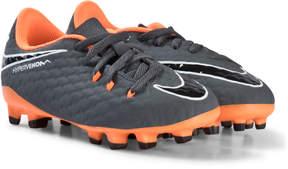 Nike Dark Grey and Orange Hypervenom Phantom Firm Ground Football Boots