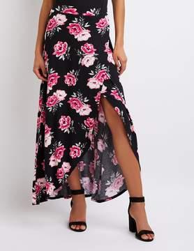 Charlotte Russe Floral Faux Wrap Maxi Skirt