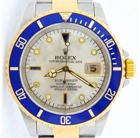 Rolex Submariner 16613 18K Yellow Gold & Stainless Steel White Mother Of Pearl Diamond Serti Dial 40mm Mens Watch