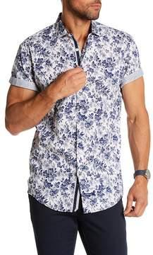 English Laundry Leaf Print Classic Fit Short Sleeve Shirt