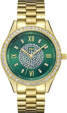 JBW Mondrian Green Diamond Dial 18k Gold Plated Stainless Steel Ladies Watch