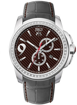 Jivago Gliese Mens Red Dial Gray Leather Strap Watch