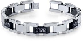 Ice Stainless Steel Black and Silver Tone Greek Key Large Link Bracelet for Men