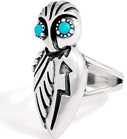 American West Sterling & Turquoise Bold OwlRing