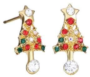 Alpha A A Christmas Gold Tone Holiday Tree Earrings