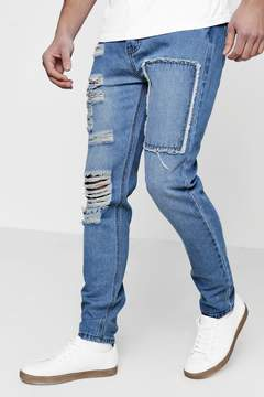 boohoo Skinny Fit Distressed Patchwork Jeans