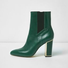 River Island Womens Green pointed block heel boots