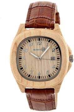 Earth Wood Sherwood Leather-strap Watch.