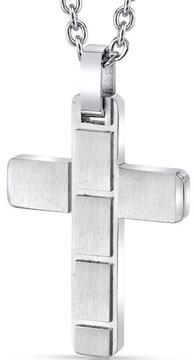 Ice Men's White Stainless Steel Brick Pattern Cross Pendant Necklace