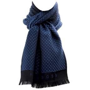 HUGO BOSS Men's 50255536 Perot 100% Wool Blue/Black Square Pattern Scarf