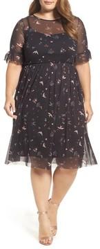 Evans Plus Size Women's Print Mesh Fit & Flare Dresss