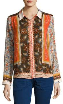 BA&SH Rosso Mixed Floral Shirt, Orange