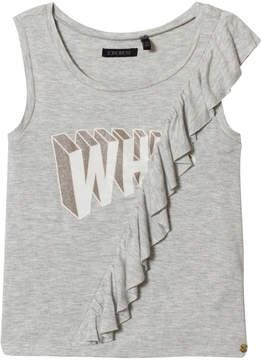 Ikks Grey Ruffle Print Vest