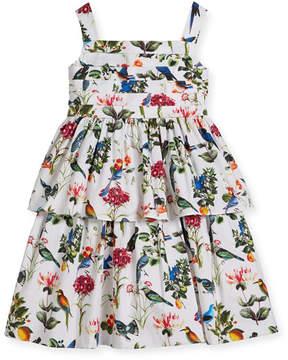 Oscar de la Renta Botanical Birds Pleated Tiered Dress, Size 2-14