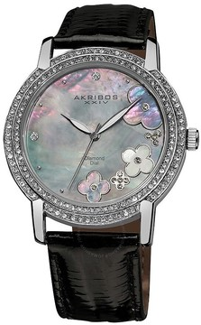Akribos XXIV Akribos Diamond Grey Mother Of Pearl Dial Ladies Watch Ak580bk