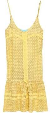 Melissa Odabash Khloe Metallic Crochet-Knit Mini Dress