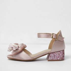 River Island Girls pink satin bow block heel sandals