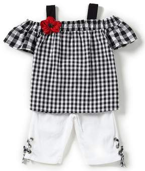Rare Editions Baby Girls 12-24 Months Gingham-Printed Top & Solid Capri Pant Set