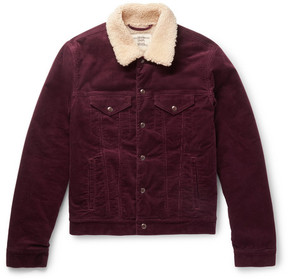 Kent & Curwen Scotney Slim-Fit Shearling-Trimmed Stretch-Cotton Corduroy Jacket