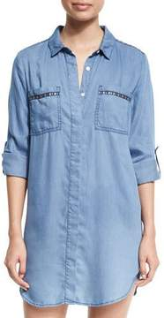 Seafolly Embroidered Beach Tunic Shirt, Washed Chambray