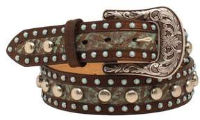 Ariat Western Belt Womens Nail heads Floral Brown Turquoise A1520002