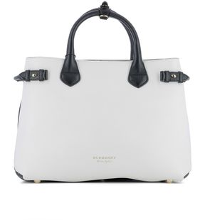 Burberry White Leather Handle Bag - WHITE - STYLE
